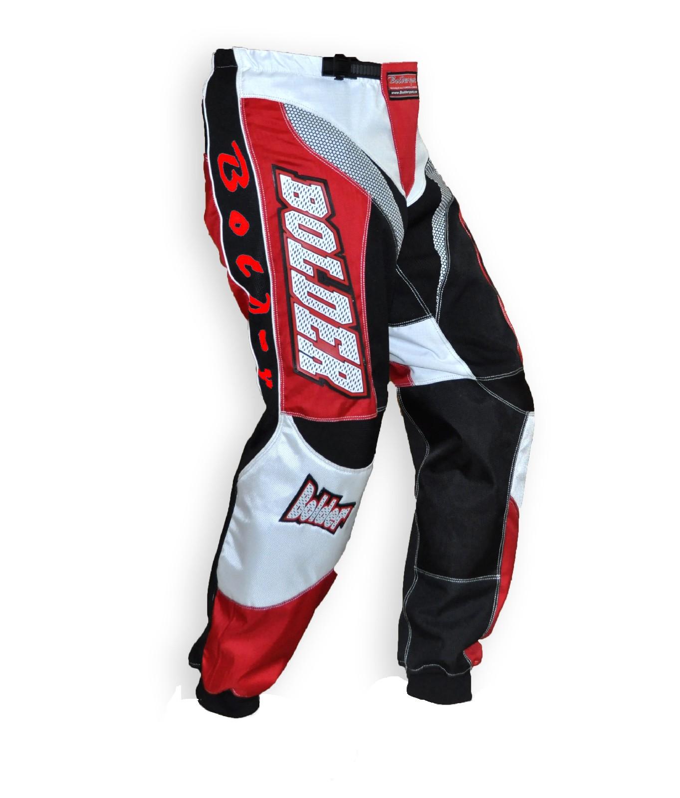 Kalhoty Motocross Kids černá/červená - Velikost: 18